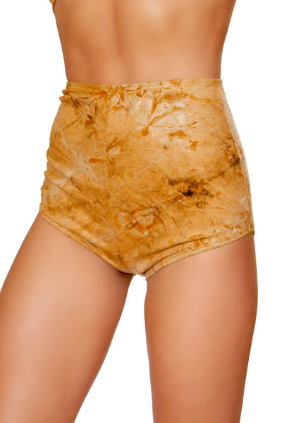 Brown Tie Dye Suede High-Waisted Shorts - High Waisted Rave shorts, Roma - YourLamode