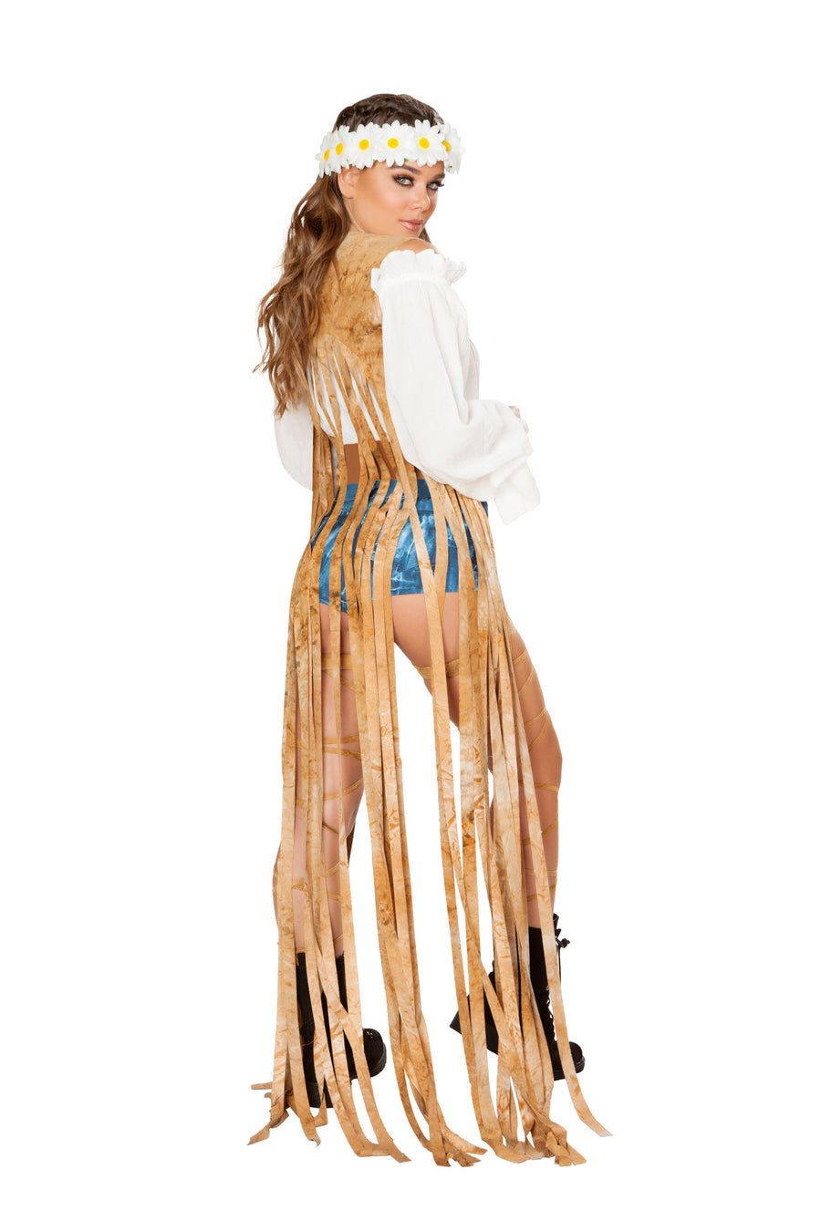 Brown Tie Dye Suede Vest with Long Fringe Detail - , Roma - YourLamode