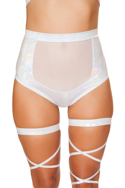 White High-Waisted Short with Sheer Panel - High Waisted Rave shorts, Roma - YourLamode