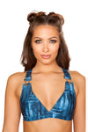 Denim Printed Bikini Top with Overall Buckle - Rave Crop Tops, Roma - YourLamode