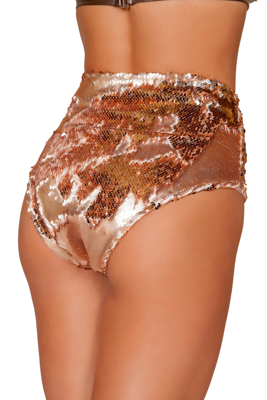Rose Gold High Waisted Sequin Shorts - High Waisted Rave shorts, Roma - YourLamode