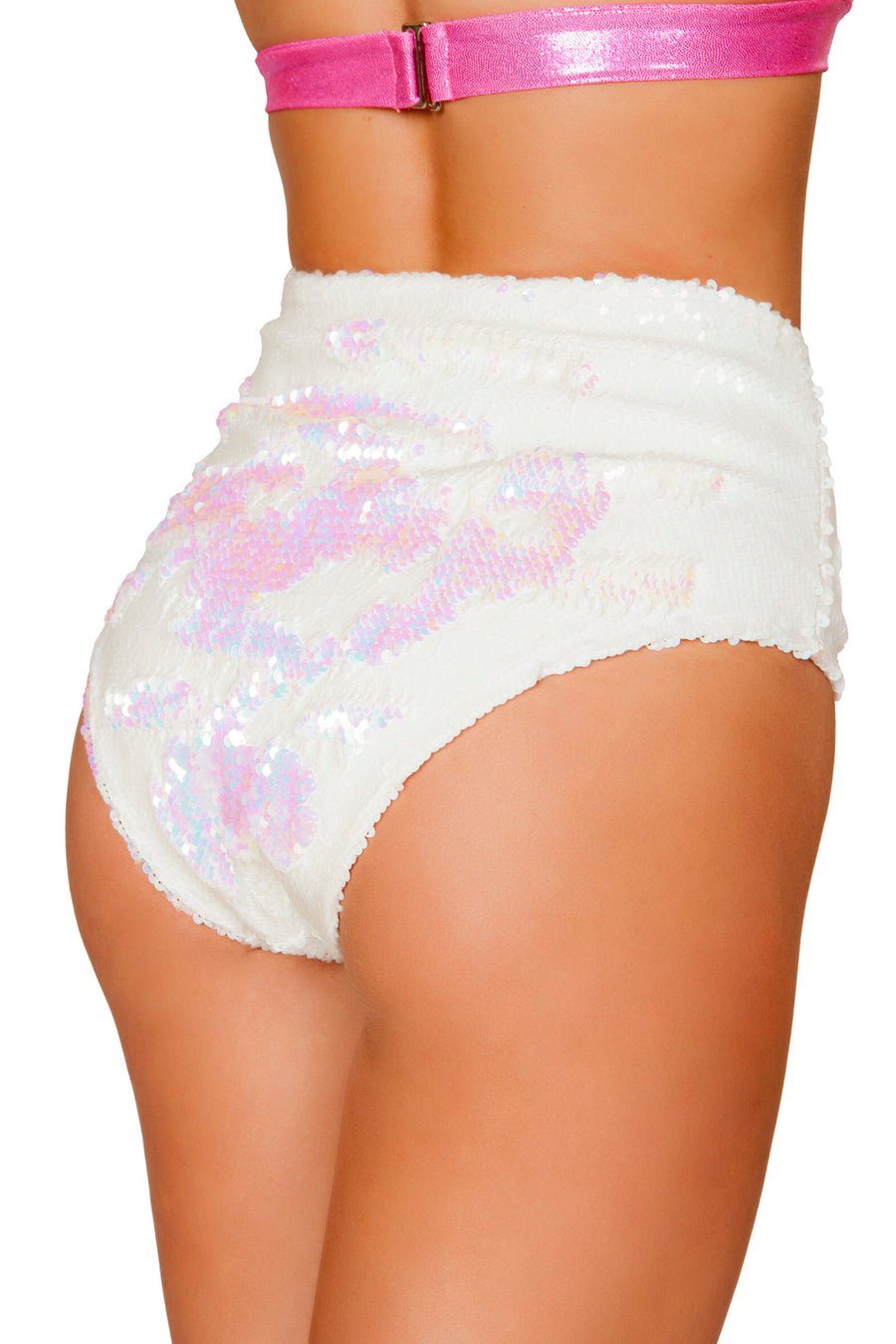 White High Waisted Sequin Shorts - High Waisted Rave shorts, Roma - YourLamode