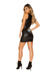 Leather Look Dress with Deep V Cut - Dresses, Roma - YourLamode