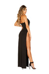 Maxi Length Dress with Deep V & High Slit - Dresses, Roma - YourLamode