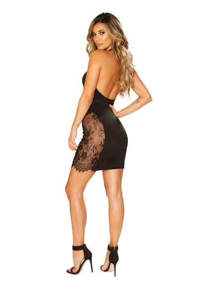 Halter Neck Dress with Eyelash Lace Panels - Dress, Roma - YourLamode