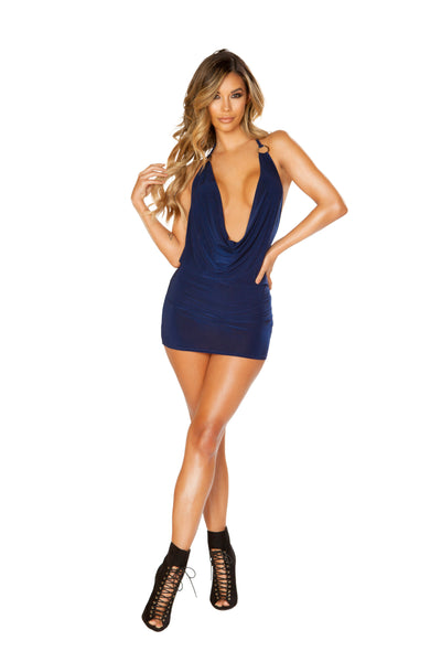 3663 Cowl Neck Mini Dress with O-Ring Detail