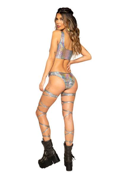 Snake Skin Cutout Romper with Zipper Closure