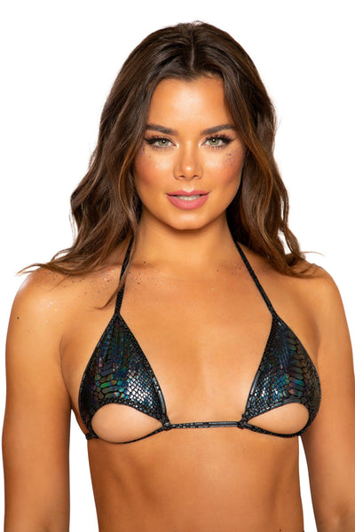 Snake Skin Cutout Bikini Top with Underboob Cutout
