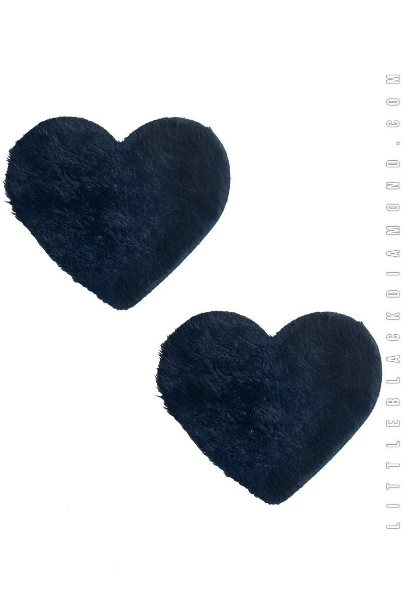 Heart Pasties in Black Fuzz - Pasties, Little Black Diamond, YourLamode