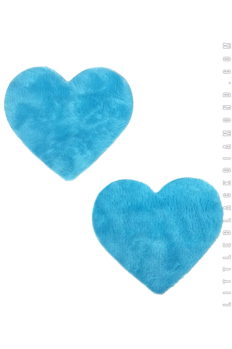 Heart Pasties in Blue Fuzz - Pasties, Little Black Diamond, YourLamode