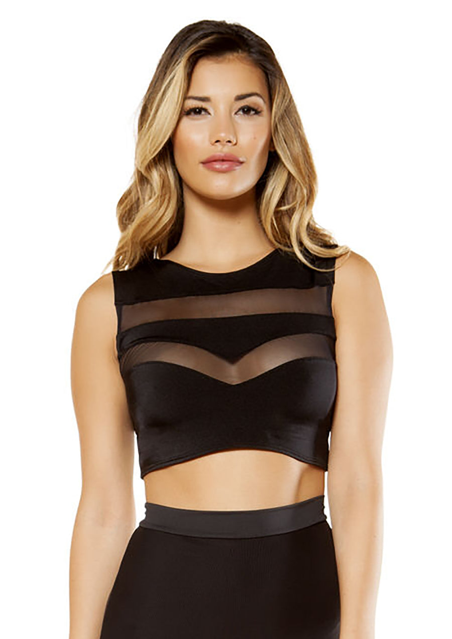 Crop Top with Sheer Meshs - Rave Crop Tops, Roma - YourLamode