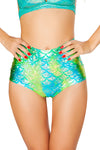 J-Valentine Blue Green High-Waist Mermaid shorts - High Waisted Rave shorts, J Valentine - YourLamode