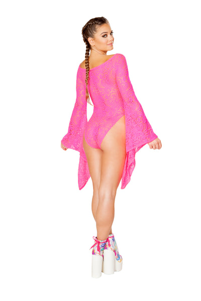 Hot Pink Mesh Bodysuit - Rave Bodysuits & One Pieces, J Valentine - YourLamode