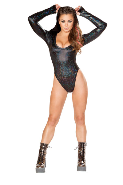 Black Hooded Mesh Bodysuit - Rave Bodysuits & One Pieces, J Valentine - YourLamode