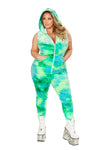 Plus Size Velvet Zipper Front Jumpsuit - Rave Bodysuits & One Pieces, J Valentine - YourLamode