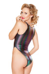 J-Valentine Hologram Lace-Up Bodysuit Fully Lined Front Back - Rave Bodysuits & One Pieces, J Valentine - YourLamode