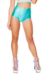 J-Valentine Aqua High-Waist Mermaid shorts - High Waisted Rave shorts, J Valentine - YourLamode