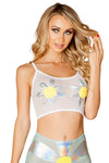 J-Valentine Daisy Mermaid Shell mesh crop top - Rave Crop Tops, J Valentine - YourLamode