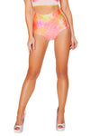 J-Valentine Pink Orange High-Waist Mermaid shorts - High Waisted Rave shorts, J Valentine - YourLamode