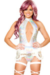J-Valentine Hologram High-Neck Halter Romper - Rave Bodysuits & One Pieces, J Valentine - YourLamode