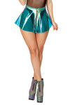 J-Valentine Vinyl Skirt with Holo Denim Trim - Rave Skirts, J Valentine - YourLamode