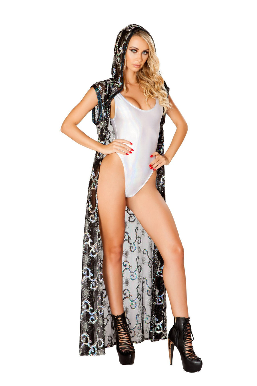 J-Valentine Sequin Mesh Long Duster