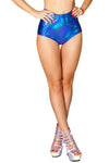 J-Valentine Blue Spectrum High-Waist shorts - High Waisted Rave shorts, J Valentine - YourLamode