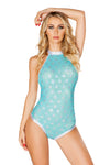 J-Valentine Aqua Light-Up Sequin Mesh Bodysuit - Rave Bodysuits & One Pieces, J Valentine - YourLamode