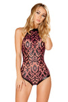 J-Valentine Wine Faux Leather Applique Bodysuit - Rave Bodysuits & One Pieces, J Valentine - YourLamode
