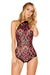 J-Valentine Wine Faux Leather Applique Bodysuit