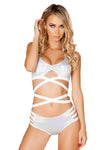 Silver Keyhole Wrap Top with Strap shorts - Two Piece Rave Set, J Valentine - YourLamode