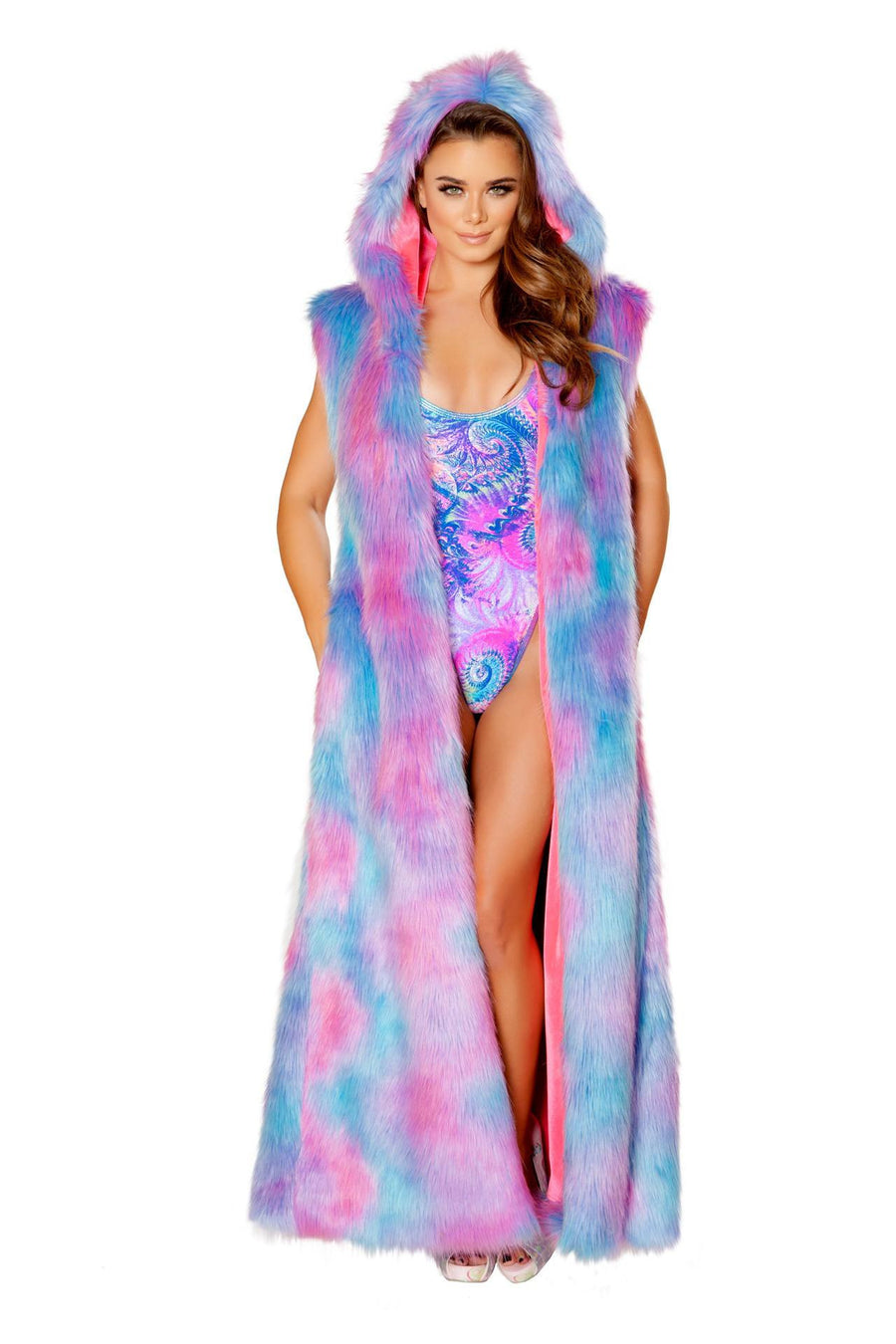J-Valentine Cotton Kandy Hooded Duster - Fur Hooded Duster, J-Valentine, YourLamode