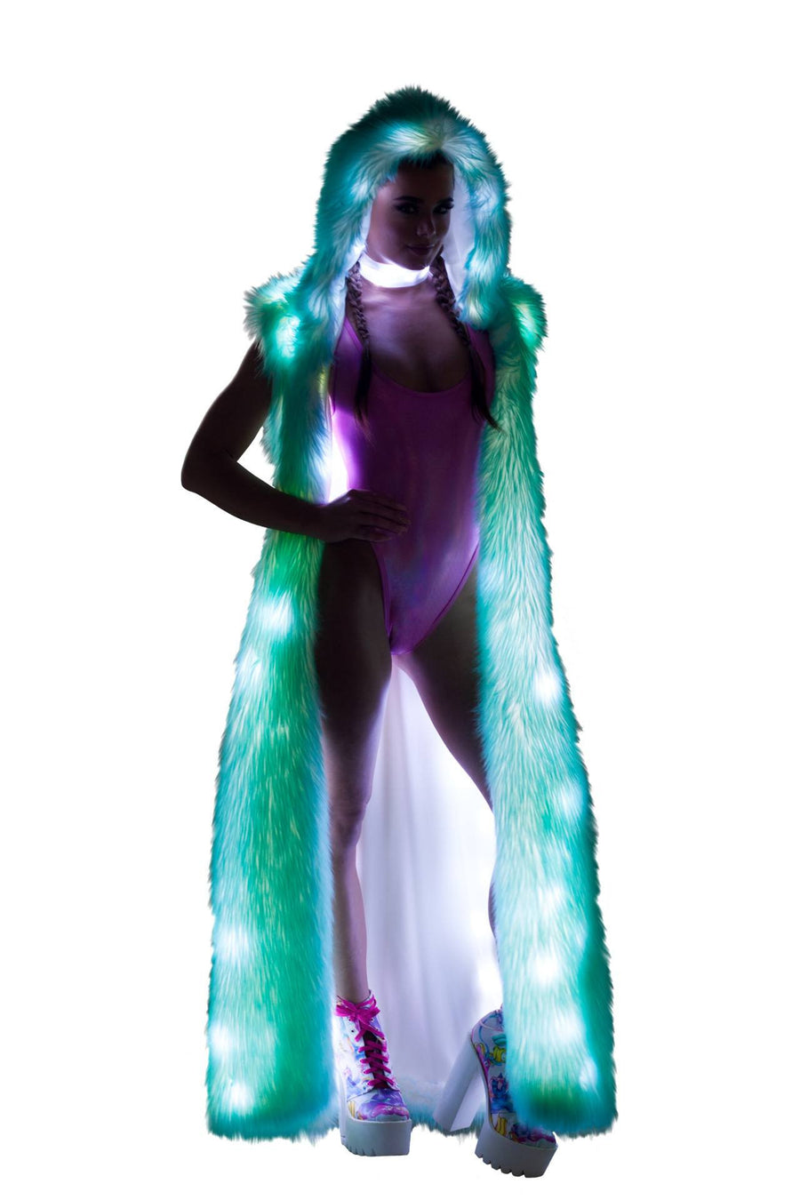 J-Valentine Aqua Tips Light-Up Hooded Duster - Light-Up Hooded Duster, J-Valentine, YourLamode