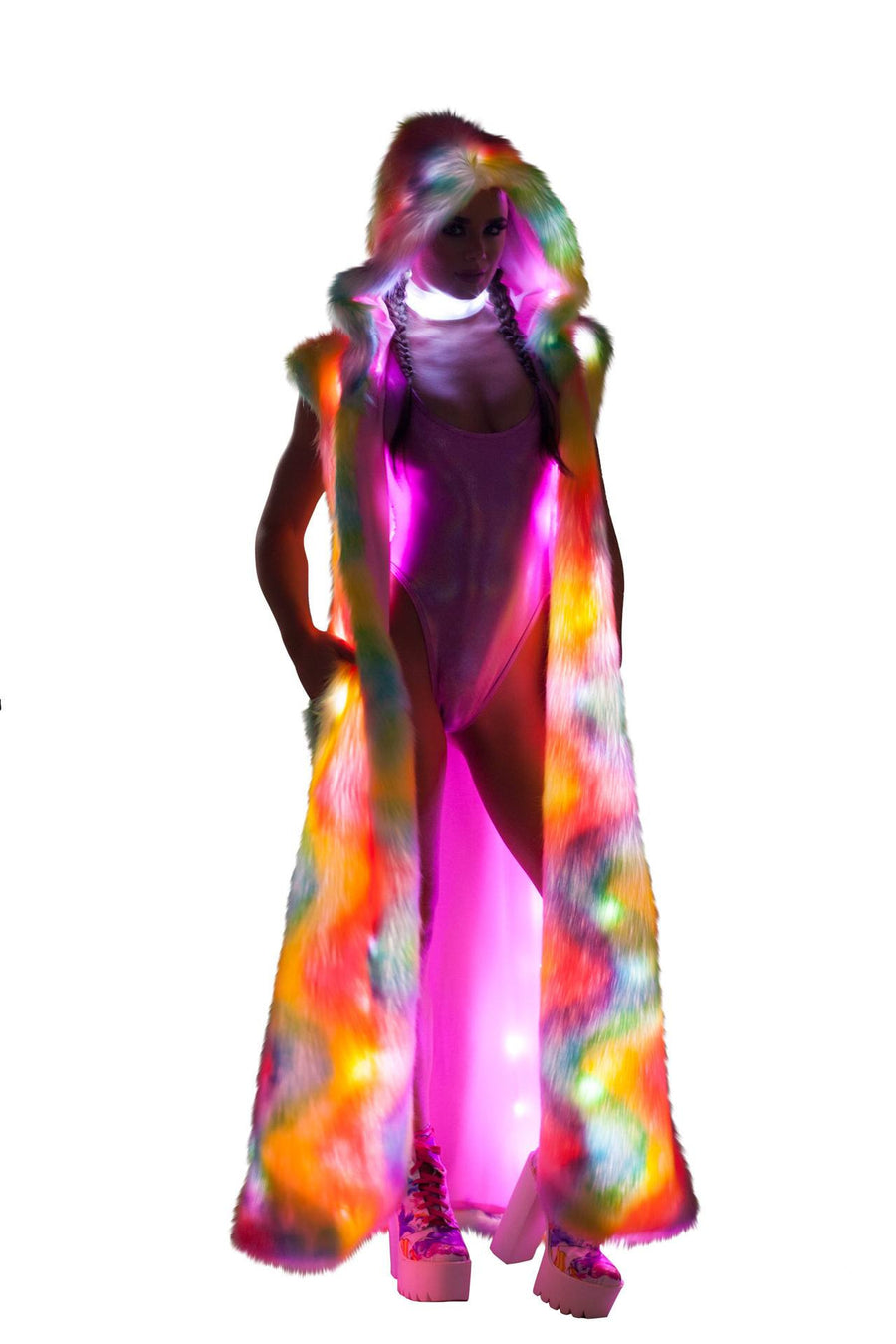 J-Valentine Rainbow Sherbet Light-Up Hooded Duster - Light-Up Hooded Duster, J-Valentine, YourLamode