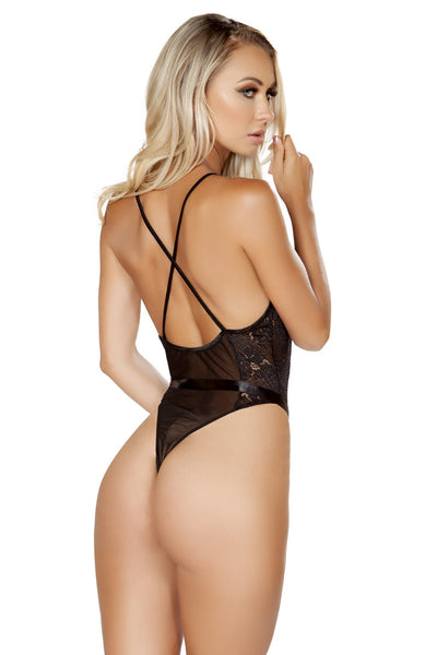 Feminine Bow Teddy with Bow & Cross Strap - Intimates, Roma - YourLamode
