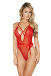 Red Teddy with Bow & Cross Strap Detail - Lingerie, Roma - YourLamode