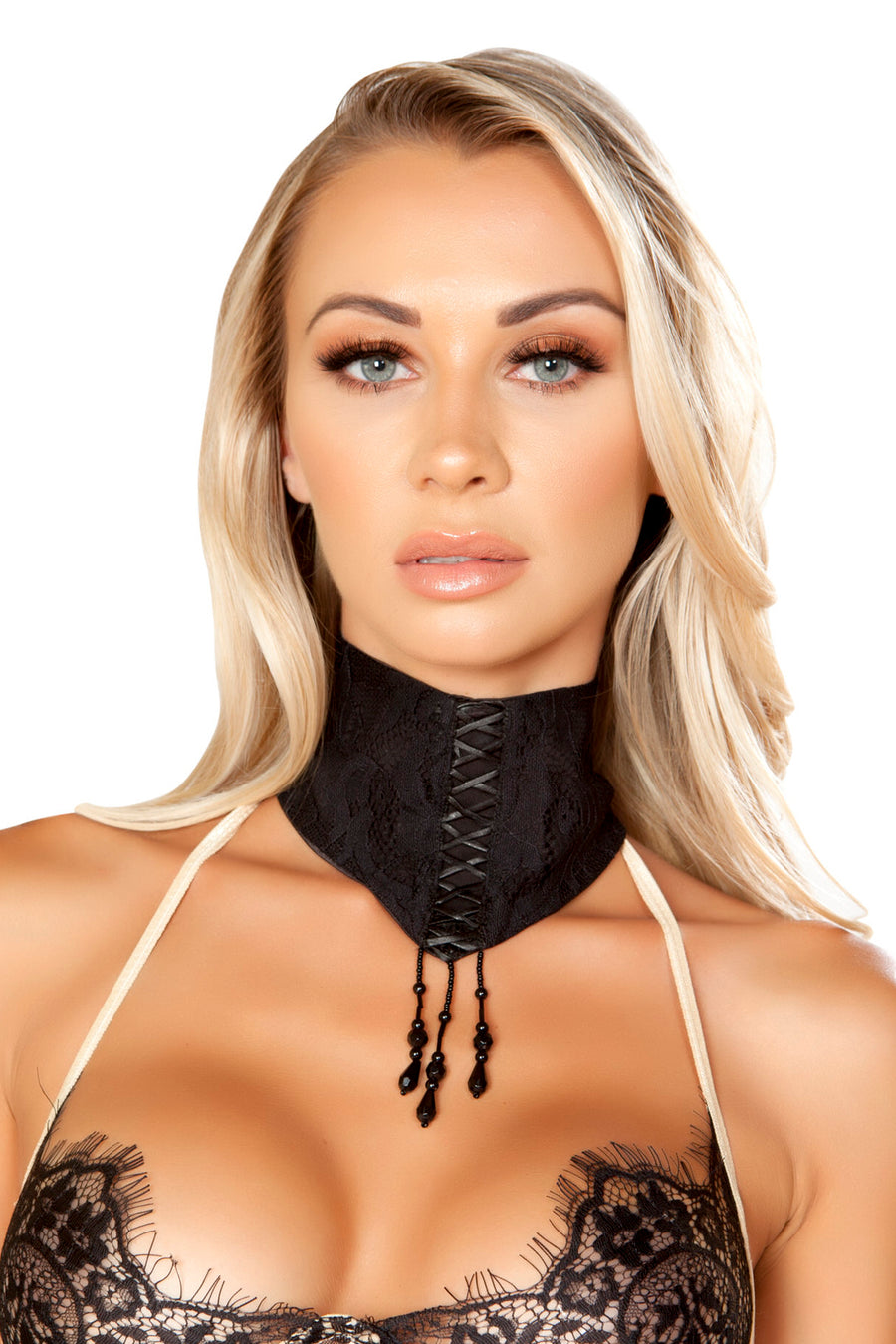 Lace Choker with Lace-Up Detail & Dangling Beads - Rave Chokers, Roma - YourLamode