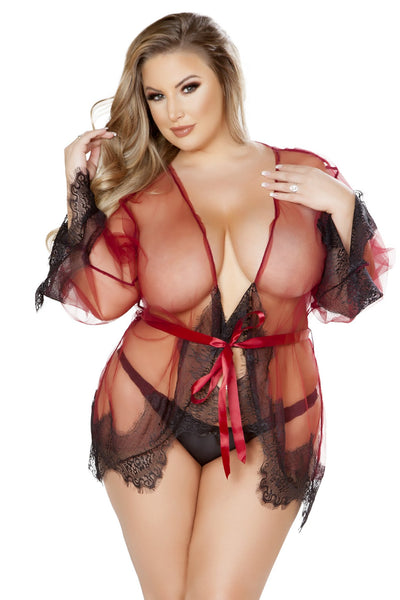 Plus Size Sheer Robe with Eyelash Detail & Satin Tie - Curve Lingerie, Roma - YourLamode