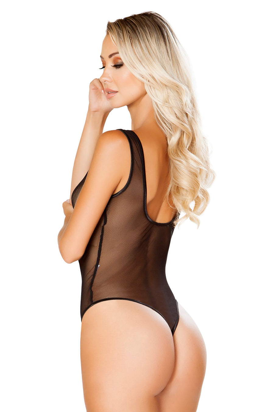 Zip-Up Fishnet Teddy with Thong Back & Snap Bottom