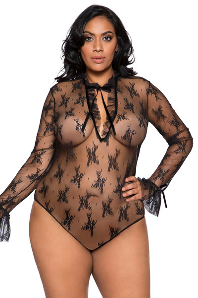 Plus Size Elegant Long Sleeved Keyhole Teddy - Curve Lingerie, Roma - YourLamode