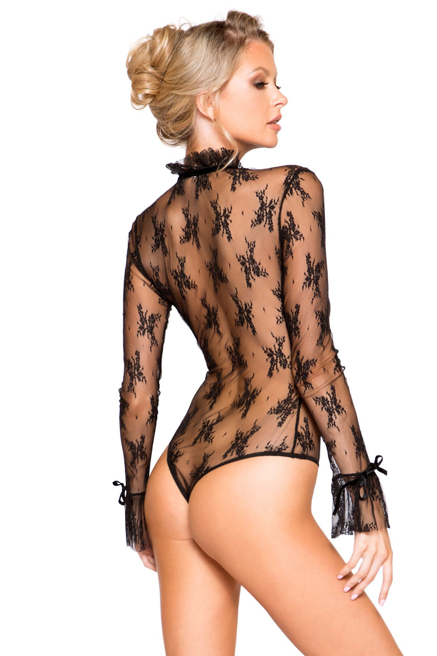 Elegant Long Sleeved Keyhole Teddy with Ruffle Detail & Snap Bottom - Intimates, Roma - YourLamode