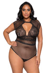 Plus Size Cap Sleeve Keyhole Bodysuit with Snap Bottom - Curve Lingerie, Roma - YourLamode