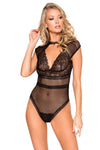 Cap Sleeve Keyhole Bodysuit with Snap Bottom - Intimates, Roma - YourLamode