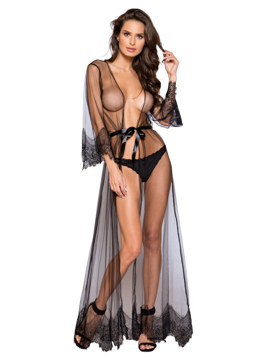 Elegant Sheer Maxi Length Robe with Eyelash Lace Detail - Intimates, Roma - YourLamode
