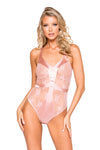 Satin & Lace Contrast Teddy with Snap Bottom - Intimates, Roma - YourLamode