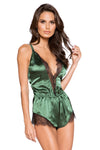 Elegant Eyelash Lace & Satin Bodysuit with Button Detail - Intimates, Roma - YourLamode