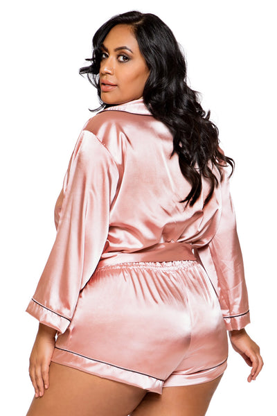 Plus Size Chic Cozy Collared Satin Bodysuit with Tie - Curve Lingerie, Roma - YourLamode