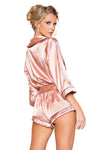 Chic Cozy Collared Satin Bodysuit with Tie - Intimates, Roma - YourLamode