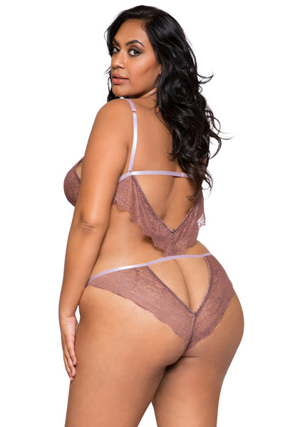 Plus Size Lace Cutout Teddy - Curve Lingerie, Roma - YourLamode