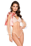 Elegant Sheer Mesh & Lace Teddy with Flair Sleeve and Optional Satin Tie - Intimates, Roma - YourLamode